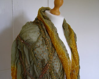 Nuno Felted Sari Wrap Green & Gold