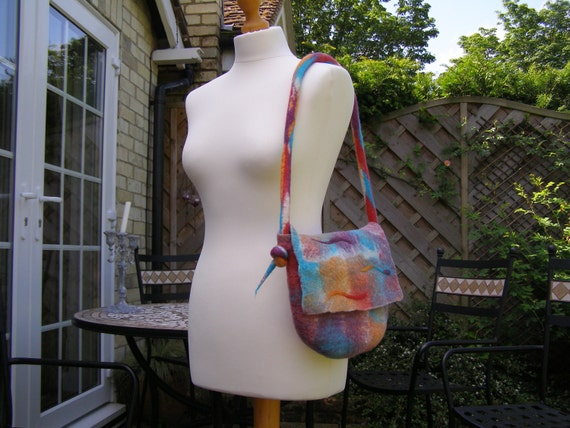 Wet Felted Bag 'Summer Sorbet' refreshing shades Handbag Shoulder Bag