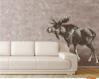 Moose Wall Decal,Removable and Repositionable Fabric Wall Decal