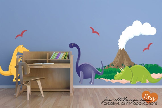 Removable Wall Decals, Dinosaurs and Large Volcano wall Decal Set