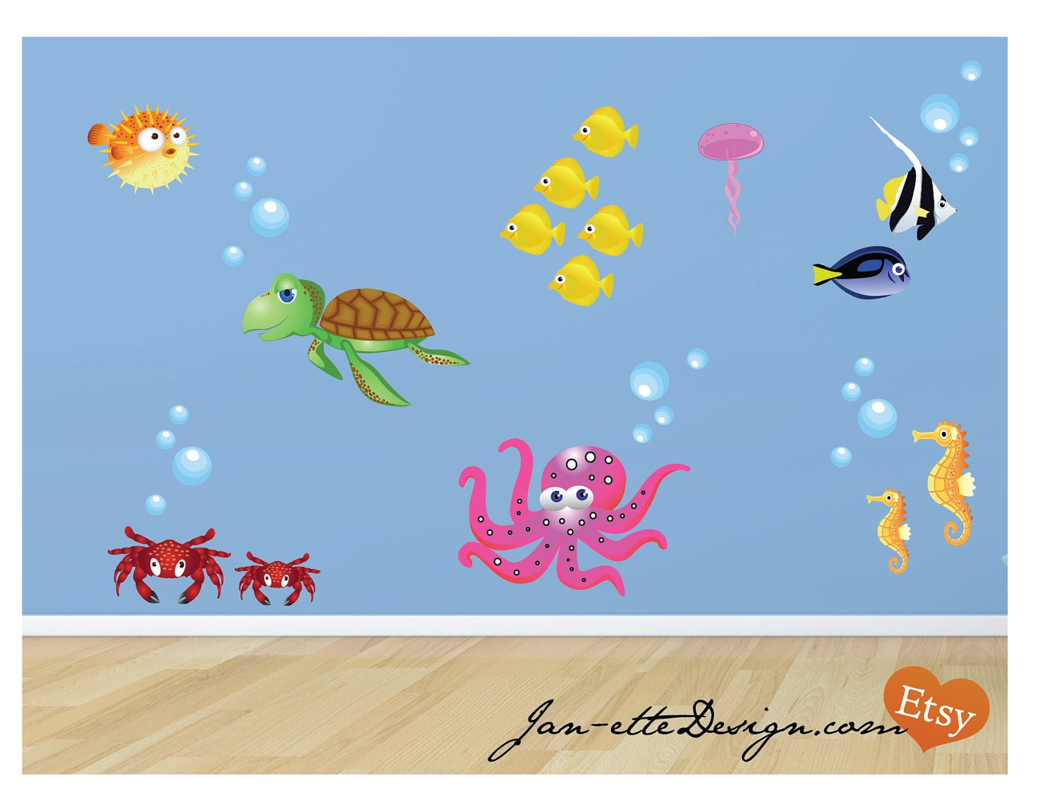 fish and ocean theme fabric wall decals fish wall stickers. Black Bedroom Furniture Sets. Home Design Ideas