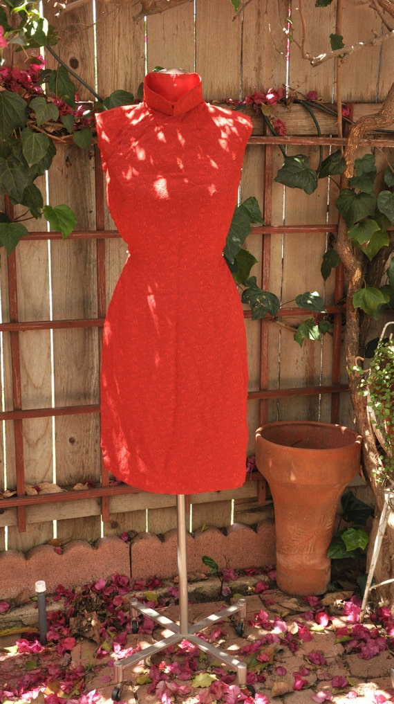 RESERVED for Erica DeCourcy Do NOT Buy  Vintage RED 1950s 1960s Wiggle Sleeveless Dress Asian Oriental Style Extra Small