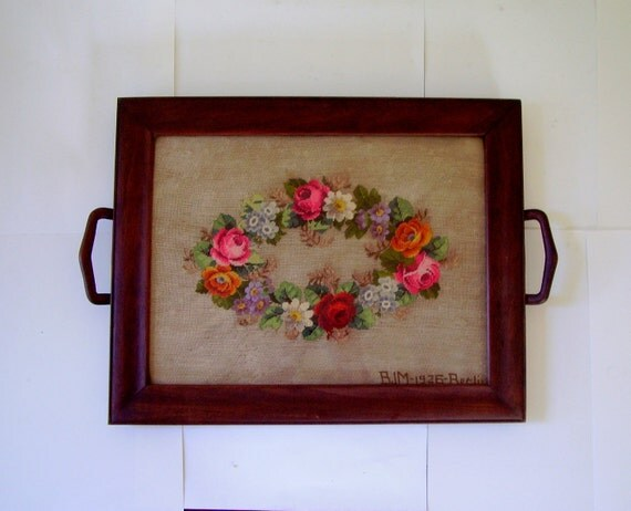 1925 Floral Needlepoint Wooden Serving Tray signed and dated Berlin Germany