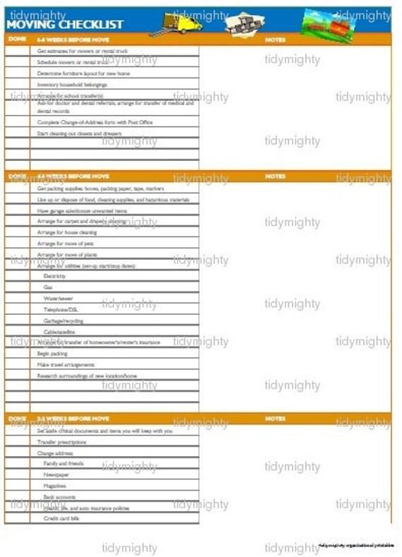 moving checklist printable
