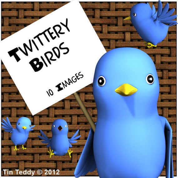 Twittery Birds Digital Clip Art - 10 Cute Blue Toon Birdies - Clipart Images for Scrapbooking, Card Making etc - Instant Download