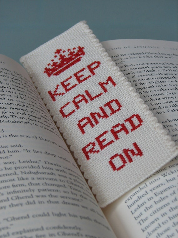 Cross Stitch Bookmark Pattern: Keep Calm And Read On (Immediate Downloadable PDF)