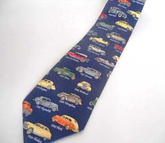 Vintage Necktie, Antique Cars, Blue Multicolor Collector Dad Neckwear