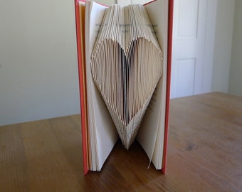 Paper Anniversary 1st Wedding - Large Heart - Baby / Bridal Shower  - Folded Book - Paper Art