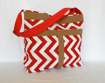 Red and White ZigZag Shoulder Bag  Messanger Bag Tote Bag