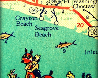 Map photograph, vintage 30A , beach house art , 8x10 photo Seagrove Grayton FLORIDA print red aqua vacation travel  Seaside picture