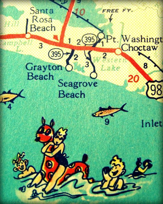 Map photograph, vintage 30A , beach house art , 8x10 photo Seagrove Grayton FLORIDA print red aqua vacation travel  Seaside picture