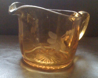 Vintage 1940s Amber Depression Amber Glass Pitcher Collectible Creamer