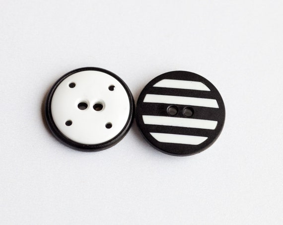 """16 Vintage 13/16"""" Plastic Black and White Striped 2 Hole Buttons.  Item 0054P"""