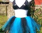 Bruised - Black and Turquoise Blue Tutu Skirt