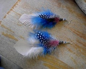 FREE SHIPPING Fluffy Cotton Candy Feather Earrings