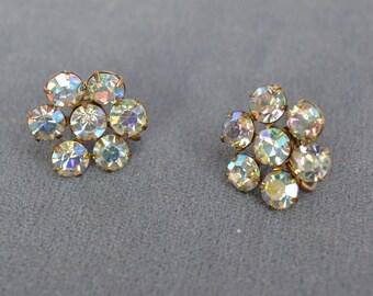 Vintage WEISS  Earrings Rhinestone Signed Clip