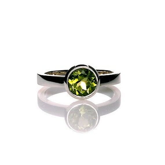 Peridot ring, Engagement ring, white gold, Peridot engagement, Ring, Green engagement, gemstone, Birthstone, bezel, promise, solitaire
