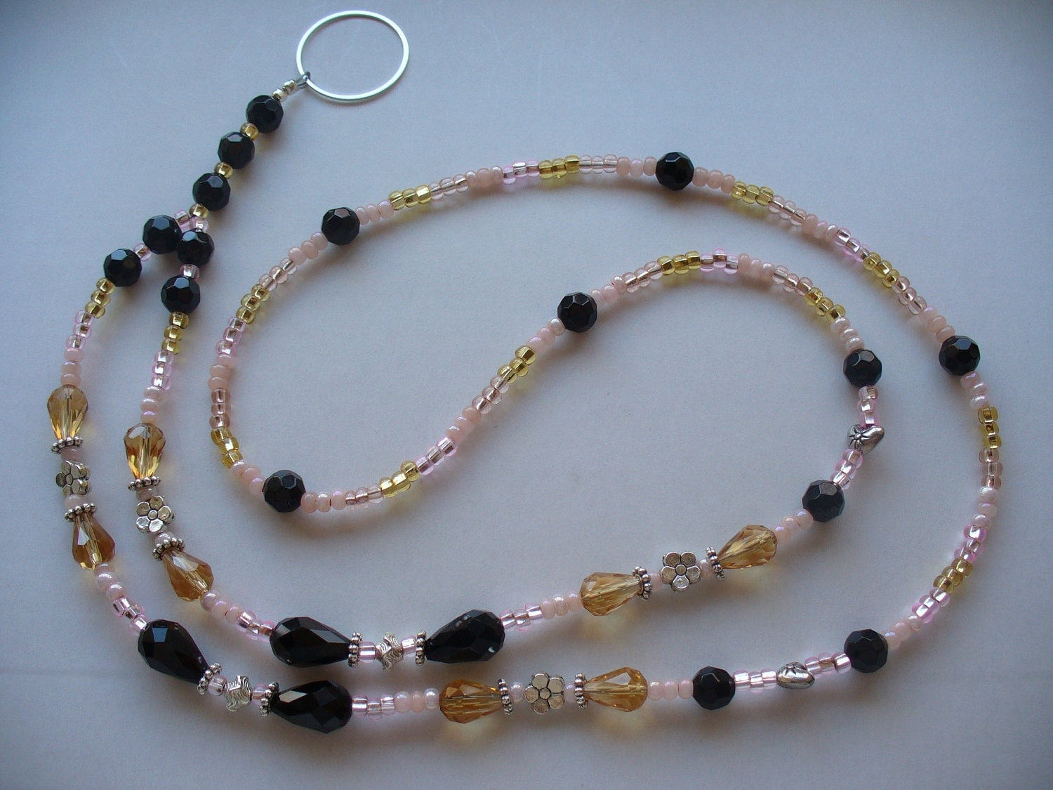 lanyard necklace black gold and pink lanyard necklace with