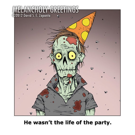 Melancholy Greetings Zombie Birthday Card By