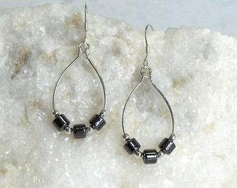 Sterling Silver Hematite Earrings, Sterling Silver Beads, Sterling Silver Earwires