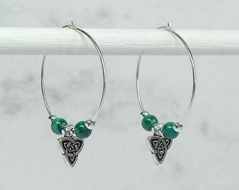 Malachite Celtic Knot Hoop Earrings, Sterling Silver Hoops, Sterling Silver Beads