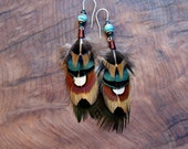 Pheasant Feather Earrings with Turquoise Stones