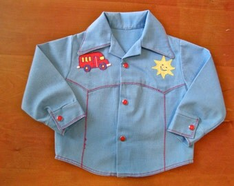 SALE Vintage Western Patch 70s Denim Shirt (baby)