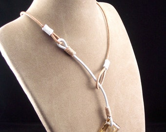 Leather Lariat with Swarovski Crystal