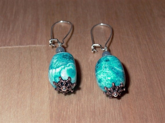 Crazy  Blue Lace Agate Earrings