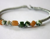 Wire Wrapped Bracelet with Green Tree Agate and Red Aventurine Gemstones