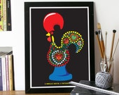 Portuguese Rooster Legend Illustration Poster Art  in Black Barcelos Rooster, a Portuguese Hero poster sign of faith and justice poster