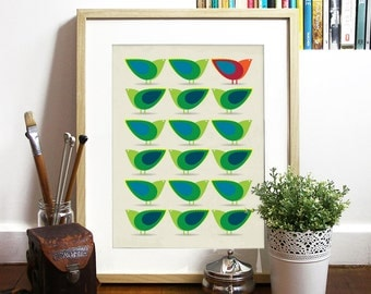 Birds Poster Mid Century design inspired Birds Illustration Print Art Poster in Green and Blue - A3 poster - Cathrineholm art print poster