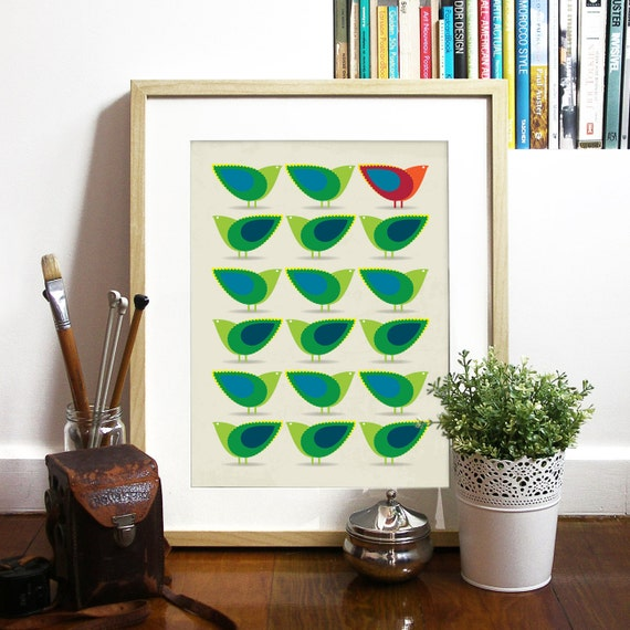 Birds Poster Mid Century design inspired Birds Illustration Print Art Poster in Green and Blue Cathrineholm art print poster birds poster ar