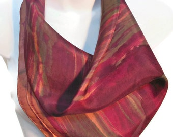 Classic Burgundy / One of a kind square SILK SCARF for Women. Hand Painted Silk Scarf by New York Artist Joan Reese/100% Silk