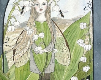 Lily-of-the-Valley Fairy - Faerie/Fairy Art Print 6 x 8 inches - Matted Size 8 x 10 inches, by Snow Fairy Cottage.