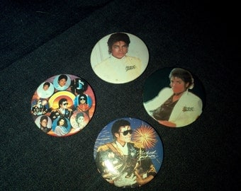 Michael Jackson Badge Buttons. Lot of four