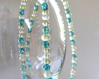 Quality Faceted Gemstone Necklace, Multi Gem Necklace w Moonstones, Green Prehnite, Blue Apatite, & 925 Sterling Silver, Quality Gemstones