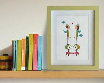 Illustration. Crazy love. Print. Wall art. Art decor. Hanging wall. Printed art. Decor home. Gift idea. Bedroom. Sweet home. Tutticonfetti