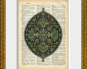 Dictionary page print - ARABESQUE DECORATION - an upcycled antique dictionary page with an antique design illustration - vintage home decor