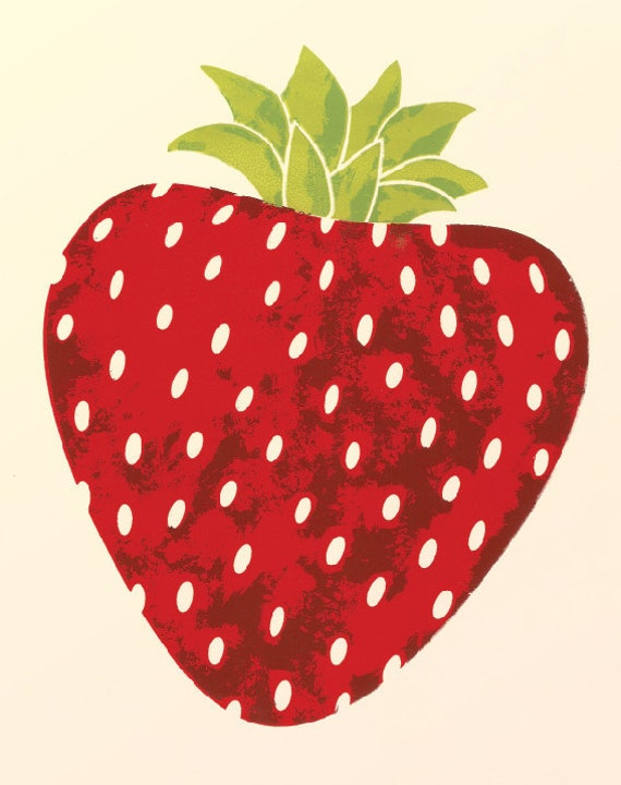 Red Strawberry Art / Kitchen Wall Decor / Archival / Bright / Food /  Summer / Dining / Fruit / Illustration / Print / Drawing / Painting