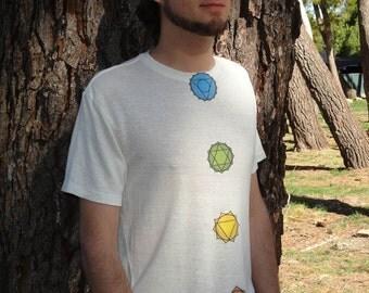 Crystalwear Tee for Him or Her - Chakra Balancing Hemp tee with Reiki-Attuned Crystals Inside(Geometric Mandala print shown)