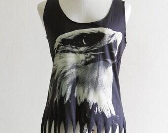 Eagle Animal Style Eagle Tank Top Women Crop Top Tee Shirt Eagle T-Shirt Black T-Shirt Screen Print Size S
