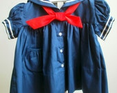 Vintage Classic Girls Navy Sailor Dress with Red tie- All Sizes - New, never worn