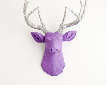 Faux Deer Head - The Sophia - Lavender W/ Silver Glitter Antlers Resin Deer Mount - Stag Resin by White Faux Taxidermy Animal Wall Decor