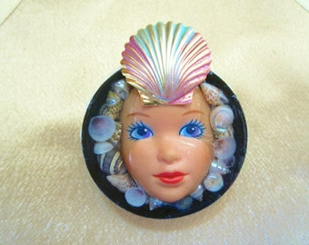 Funky Barbie Brooch Pin Made from a Real Barbie