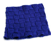 Royal Blue Neck Warmer - Hand Knit Blue Cowl, Sporty Gaiter, Stadium Wear, Man's Neck Warmer, Handmade in the USA, Ready to Ship