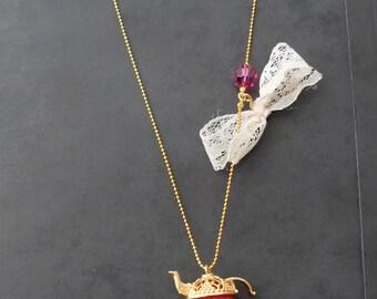 Pink Teapot Necklace with Swarovski Items