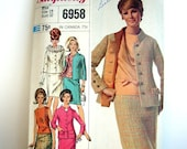 Reserve...Misses' two-piece suit and overblouse designer fashion- vintage 60s Simplicity pattern 6958