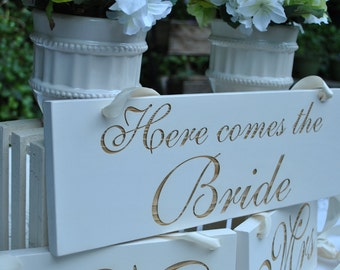 Wedding Signs, Here Comes the Bride, Mr & Mrs Wedding Signs, Photo Prop, Chair Signs , Engraved Wedding Signs..