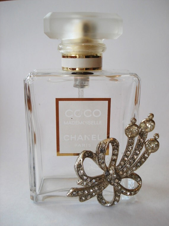 Vintage Authentic COCO Chanel Mademoiselle Paris Perfume Bottle with Rhinestone Flower MEDIUM
